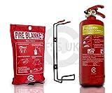 Premium FSS UK 2Liter Schaum-Feuerlöscher mit Fire Decke. Die britischen Standard Gütesiegel Feuerlöscher und CE-gekennzeichnet Fire Decke. Ideal für zu Hause Küche Arbeitsplatz Büros Lager Werkstatt Garagen Hotels Restaurants