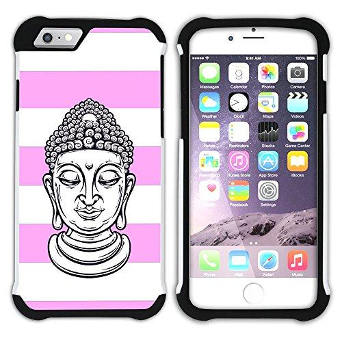 Graphic4You Buddha-Kopf Linien Muster (Wasserblau) Hart + Weiche Kratzfeste Hülle Case Schale Tasche Schutzhülle für Apple iPhone 6 Plus / 6S Plus Hell-Pink