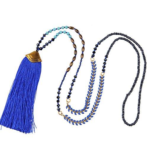 KELITCH Quaste Halsketten Frauen Herren Bohemian Türkis Kristall Perlen Halskette Damen Lange Kette mit Tassel Anhänger - Blau (Blaue Perlen Halskette)