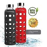 2 x hydro2go Sport Trinkflasche - aus Glas 550 ml - getestet BPA Frei und 100% auslaufsicher - Premium Glasflasche mit Silikonhülle für unterwegs, Smoothies, Büro, Fitness, Yoga & Sport