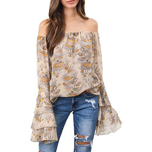 (Böhmen Bluse,MYMYG Damen Bluse Oberteile Floraler Shirt Frauen Langarm Sommer Blumen Schulterfrei Aufflackern-Hülse Tops Gefaltetes Shirt Tops (Beige,EU:38/CN-M))