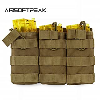 ACU : AIRSOFTPEAK Tactical Molle Triple Magazine Pouch Open Top Vest Accessory Bag Combat Gear Mag Holster Paintball Equipment