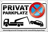 TATMOTIVE Parkverbotsschild Privatparkplatz PS02, inkl. Löcher + Schrauben Parkverbot Schild
