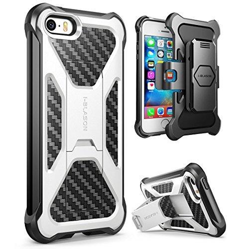 i-Blason Apple iPhone SE (2016) / 5S / 5 Hülle Prime Handyhülle Outdoor Case Stoßfest Schutzhülle Dual Layer Cover mit Halter und Gürtelclip, weiß (Case Box Iphone Handy Otter 5s)