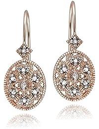 Boucles d'oreilles Ovales en Argent Sterling Plaqué Or Rose avec un Accent de Diamant. Dormeuse Filigrante