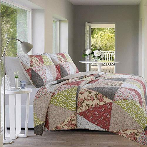 ZTMN 100% Baumwolle Gesteppte Tagesdecke King Size, Patchwork Antik Floral Bedruckt reversibel bestickte Quilts Set weiches leichtes Marokko Stil, 220x240cm (87x94inch) -