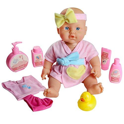 Realista Bebé de Muñeca de Silicona 29 cm para Simulación de Baño con Accesorios para Niños 3 Años, Rosa