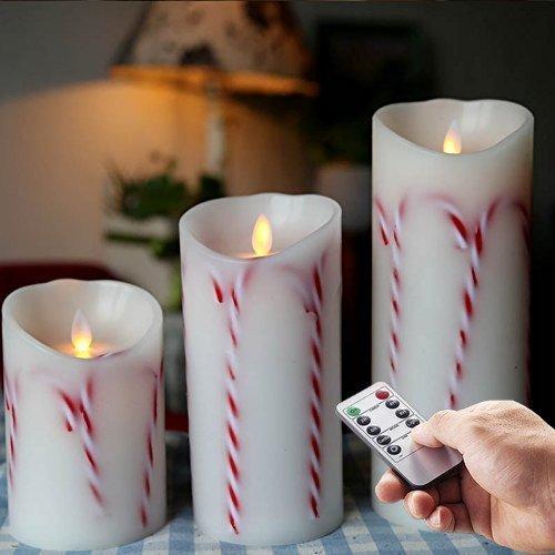 Decoraci¨®n de Navidad Candy Sticks sin llama Vela Led con temporizador 3.5'x5 'y 7' y 9 '