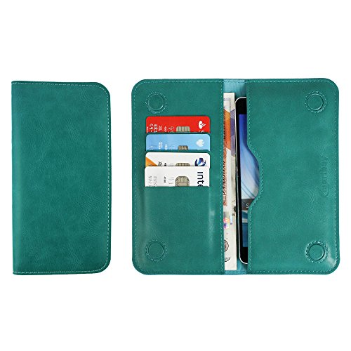 Emartbuy PU Leather Magnetic Slim Wallet Case Cover Sleeve for Jolla Jolla C Smartphone (Size LM2_Turquoise Plain)
