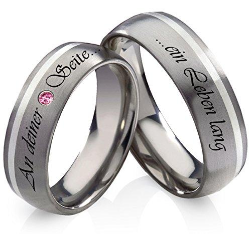 Titanringe Verlobungsringe Eheringe Trauringe Hochzeitsringe aus Titan und 925 Silber mit Rhodolite und persönlicher Lasergravur HR13L