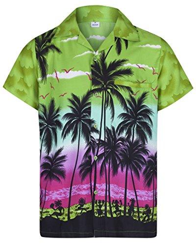 (Redstar Fancy Dress - Herren Hawaiihemd - kurzärmelig - Palmenmotiv - Verkleidung Junggesellenabschied - alle Größen - Grün - XXXL)
