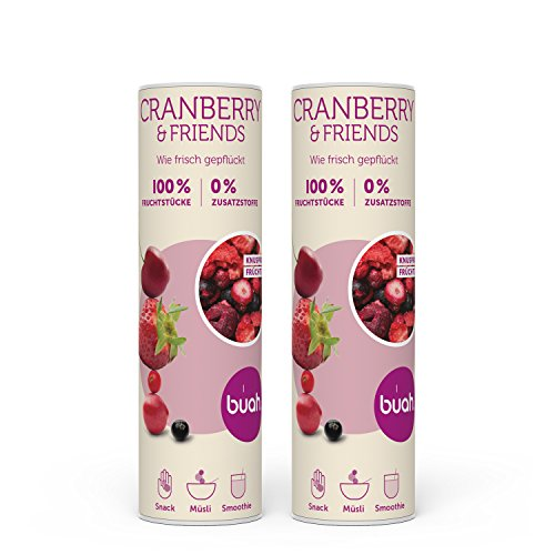 BUAH® Beeren gefriergetrocknet I Gefriergetrocknete Erdbeeren, Cranberry getrocknet ohne Zucker I 100% gefriergetrocknet Früchte (Vegan Laktosefrei Glutenfrei) Getrocknete Früchte Snacks (46g) (Bio-trockenfrüchte)