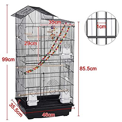 Yaheetech Large Metal Bird Cage Parrot Cockatiel Conure Parakeet Budgie Finch Lovebird Pet Roof Top Bird Cage with Toys from Yaheetech