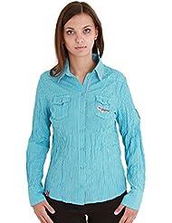 Almgwand felsing Mujer Camisa de manga larga para, color turquesa, tamaño 48