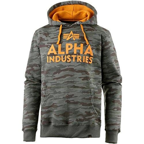 Alpha Industries Foam Print Hoodie Camouflage L - Gewaschen Logo Mens Hoodie