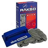 RAKSO® Spänematte Set Sorte grob 2 Stück + 1 Schleifgriff Stahlwollematte