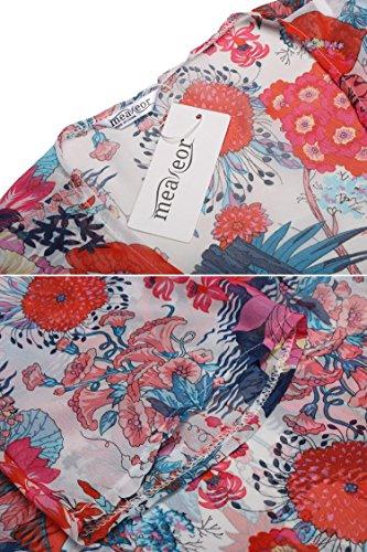 Meaneor Maglia Delle Donne Casuali Floreale Chiffon Orlo Asimmetrico 3/4 Sleeve Cardigan Multicolore