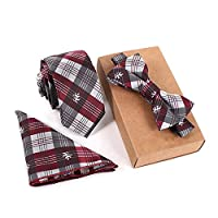 Men NeckTie Set Bowtie Slim Necktie high quality Slim Skinny Narrow Men Tie dress Handkerchief Pocket Square Suit Set