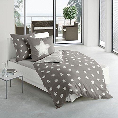 Bierbaum Biber Wendebettwäsche Sterne Mokka 1 Bettbezug 135x200 cm + 1 Kissenbezug 80x80 cm
