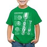 style3 Laserschwert Blaupause T-Shirt für Kinder Jedi Lichtschwert, Farbe:Grün;Größe:164