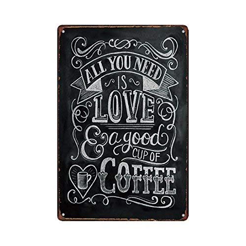 s Love a Good Cup of Coffee, Metal Tin Sign, Vintage Art Poster Plaque Kitchen Cafe Home Wall Decor ()