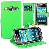 Samsung Galaxy Xcover 2 Handy Tasche, FoneExpert® Wallet Case Flip Cover Hüllen Etui Ledertasche Lederhülle Premium Schutzhülle für Samsung Galaxy Xcover 2 S7710 (Grün)