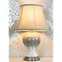 DOWNTON INTERIORS Traditional Antique Style Porcelain Ceramic Grey Bedside Table Lamp Height 53cm (GZ605) **Full Range of Ceramic Table Lamps are Available **