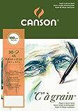 Canson 'C grano' papel de dibujo 400060609 Bloque 30 hojas A5 180g grano fino Natural Blanco