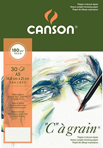 Canson 400060609 C a grain Zeichenpapier, A5, naturweiß