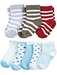 FOOTPRINTS Organic cotton Baby Boy Girls Kids Socks-12-30 Months - Pack of 8 Pairs -P3 Stripes & P5 Blue