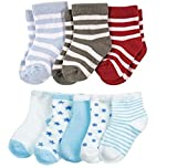 FOOTPRINTS Organic cotton Baby Boy Girls Kids Socks-12-30 Months – Pack of 8 Pairs -P3 Stripes & P5 Blue