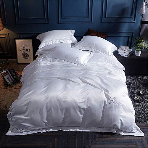 Sanqing Bettzeide bestickte Baumwolle vierteiligen Quilt-Cover Junge und Mädchen setzen atmungsaktiv (Quiltdeckel + Kissen + Blätter),02,M (Bestickte Bett-satz)