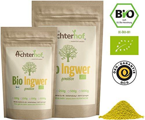 Bio Ingwerpulver (250g) | Ingwer gemahlen | Ingwerwurzel gemahlen perfekt fuer Ingwertee Ingwertinktur Ingwerwasser oder zum Kochen - Wasser-pulver Aromatisiertes