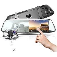 Dash Cam Cámara de Coche 1080P Full HD Cámara para el salpicadero espejo retrovisor coche TOGUARD 4,3 pulgadas Cámara videograbador, con doble lente y sensor G de aparcamiento coche grabación en bucle