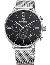 Skone Hommes Noir Élégant Calendrier montres à quartz