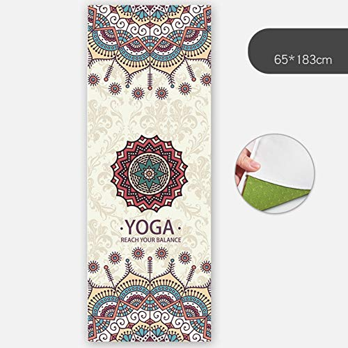 HOPQ Yoga Mat rutschfeste weibliche Schweißabsorption Anfänger Falten tragbare Yoga-Decke für alle Arten von Yoga, Pilates und Bodenübungen