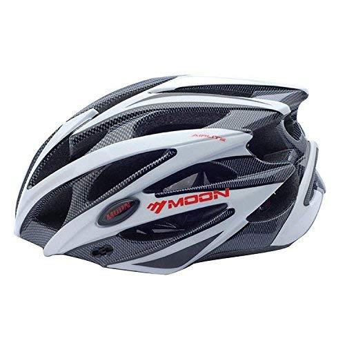 Asvert Casco Bicicleta Hombre Carretera MTB Visera PC+EPS Doble Protecciones Casco Ciclismo Integral Duradero y Ajustable Bici Montaña, Talla M/L (Blanco, M)
