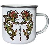 Nueva Bendición De Dragón Doble Retro, lata, taza del esmalte 10oz/280ml l641e