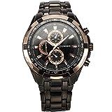 XLORDX CURREN Goldene Ring Herren Uhr Analog Quarzuhr Edelstahl Schwarz Armbanduhr