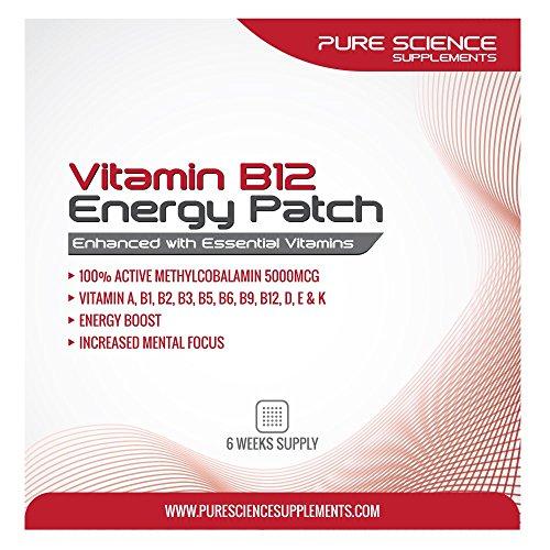 Cerotto transdermico di vitamina B12 ● 6 Cerotti energetici ciascuno con 5000 mcg di vitamina B12 per cerotto - Con Cianocobalamina, una forma altamente stabile di vitamina B-12 - Essenziale per l'energia quotidiana e le funzioni corporee