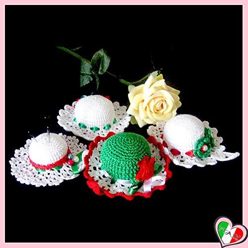 Italienische Farben häkeln Hut Nadelkissen aus Baumwolle - Größe: von 8 cm bis 9.5 cm- Handmade - ITALY