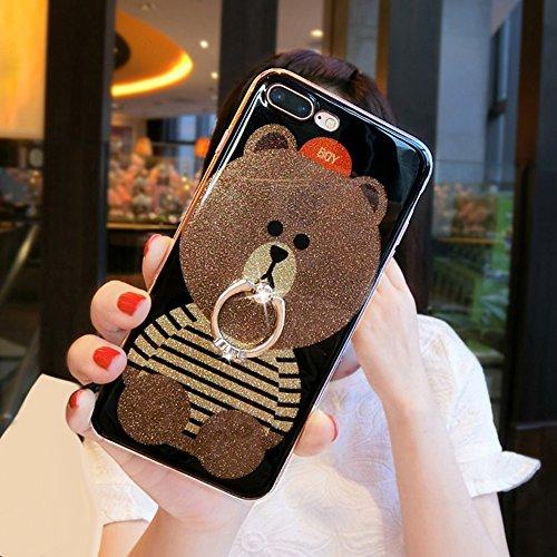 iPhone 6 Plus Custodia, iPhone 6S Plus Cover, iPhone 6 Plus/6S Plus 5.5 Custodia Silicone, JAWSEU Un Simpatico Gatto Disegno Creativo Ultra Sottile Cristallo Trasparente Custodia per iPhone 6 Plus/6S  Orso Bello di Bling Blu + Anello