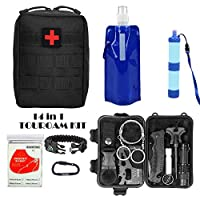 TOUROAM Emergency SOS Survival Multitool Kit|Tactical Pouch,Water Filter Straw,Foldable Water Bag,Mylar Blanket,5 In 1 Bracelet,for Camp Adventure