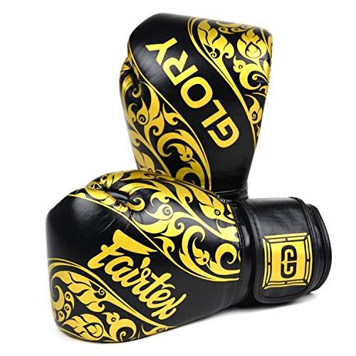 Fairtex Guantoni Muay Thai Kick Boxing Boxe Glory X Nero-Oro 10 oz