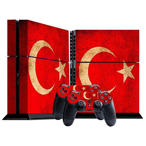 Morbuy PS4 Skin Design Folie Aufkleber Sticker schützende Haut Schale für Sony Playstation 4 Konsole und 2 Dualshock Controller Skins (Flagge Türkei) -