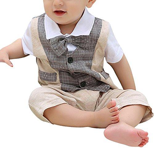 Minetom Baby Boy Tuta del Papillon Bowknot Gentleman Pagliaccetto One Piece Suit Adatta Per La Festa Nuziale ( Grigio 75-80 ( 9-12 Months ) )