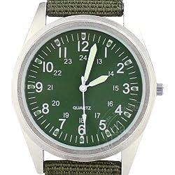 Orkina Mens Silver Case Dark Army Green Dial Quartz Nylon Fabric Strap Fashion Wrist Watch P104SDG