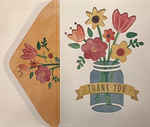 Elegante Aufstellkarten 3.5 x 5 inches 10 Count Molly & Rex Mason Jar Flowers Boxed Thank You Cards -