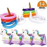 VAMEI Unicorn Gonfiabile Ring Toss Game 2 Pack Gioco gonfiabile galleggiante di lancio dell'anello di nuoto dell'unicorno per decorazioni per feste per feste in piscina