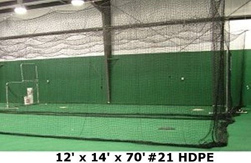 12' x 14' x 70' #21 HDPE Medium Duty Baseball Softball Batting Cage Net Netting by Jones Sports -